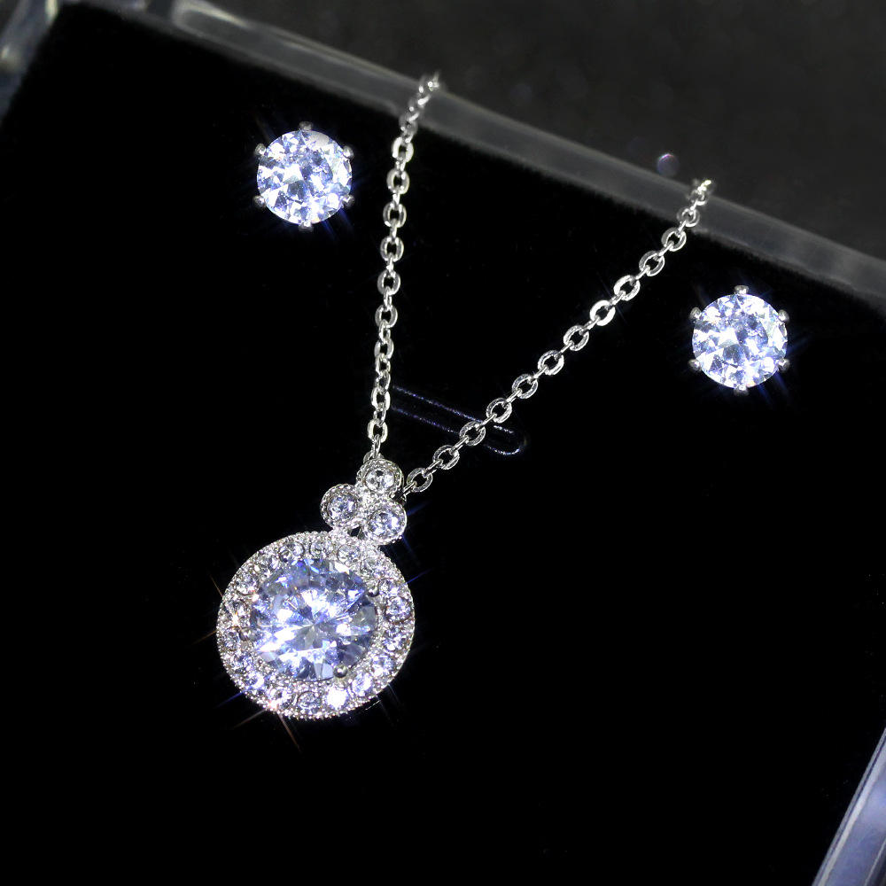 2021 Creative Sparkling Full Diamond Cz Round Jewelry Set Crystal Cubic Zircon Crown Necklace Earrings Set for Wedding