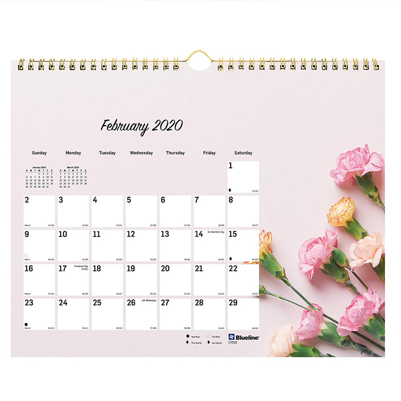Wholesale Custom Printing Spiral Wire O Wall Monthly Calendar
