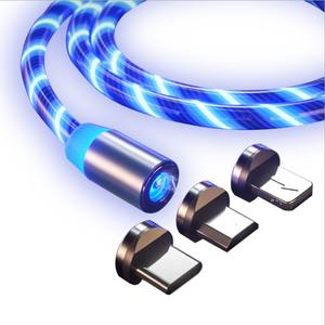 3 in 1 Magnetic Charger Cable LED light USB Luminous Glow Flowing Magnetic Charging Cable
