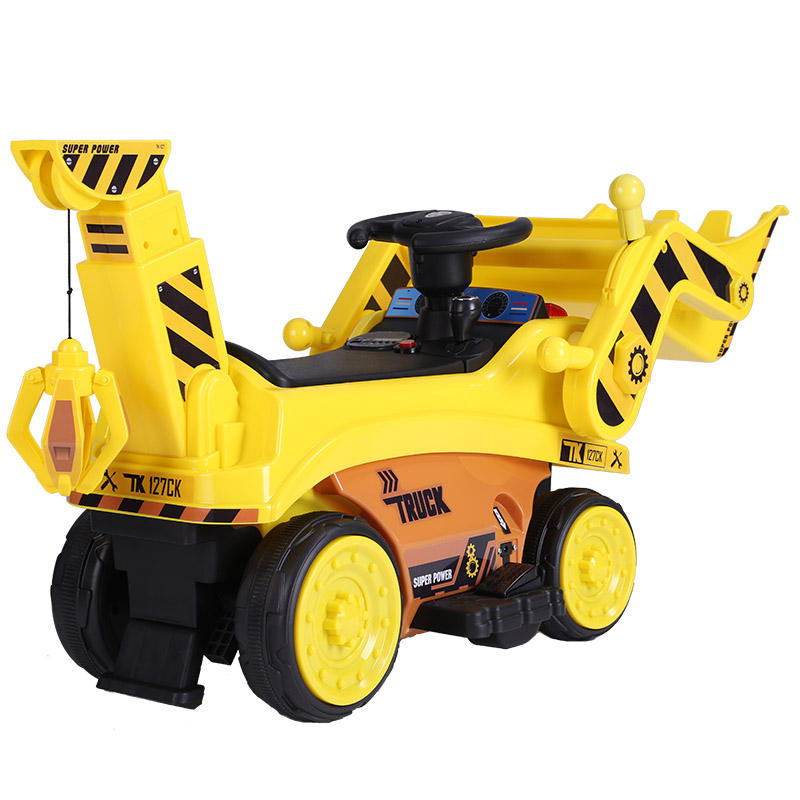 Kids Ride On Bulldozer Outdoor Digger Scooper Pulling Cart with Front Loader Horn and Underneath Storage