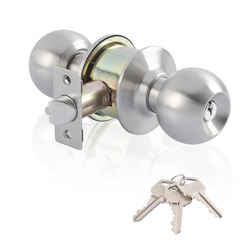Ball knob with lock and key stainless steel satin handle privacy access handle lock