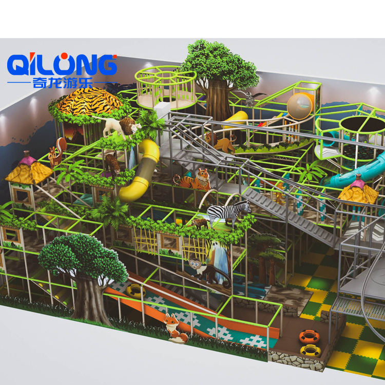 2020 New Design Children Popular Jungle Theme Baby Kids Commercial Indoor Playground Equipment Soft Play With slide