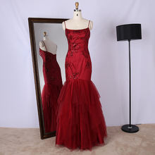Customized design spaghetti strap embroidery sequined mermaid red evening dress for formal occasion