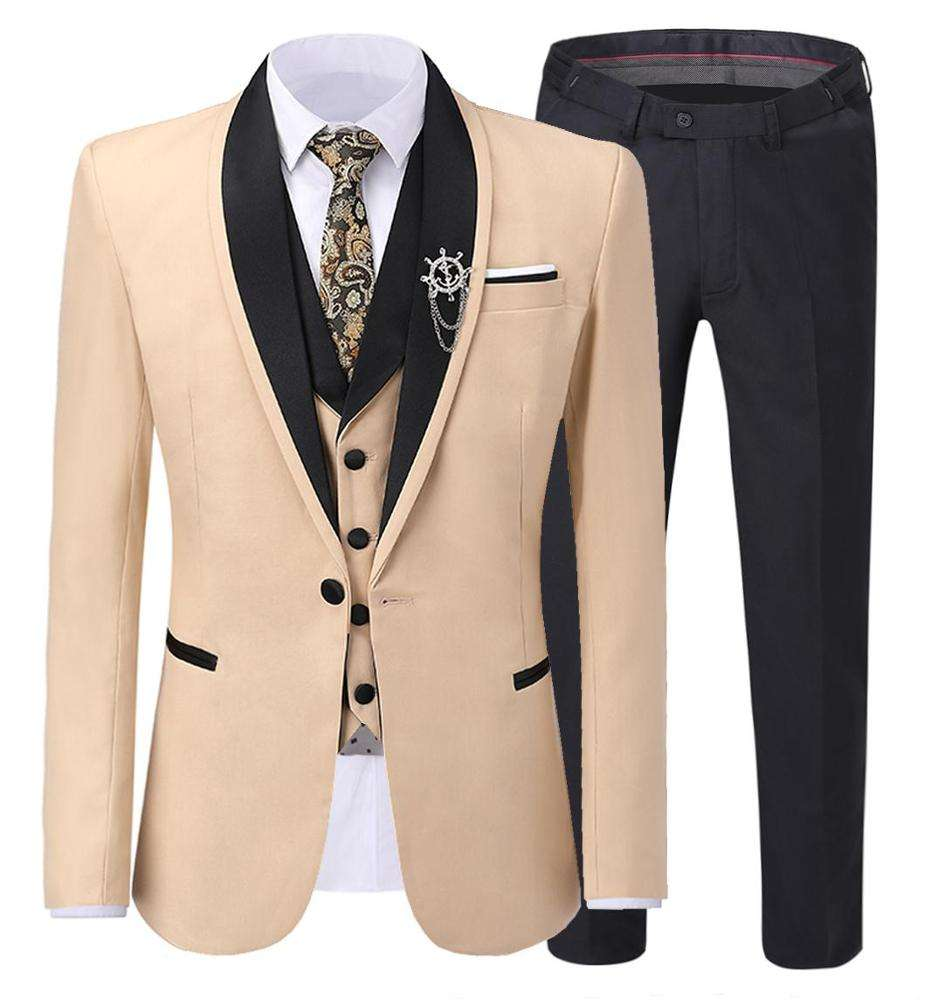 Shawl Lapel High Quality men textured suit suit(Blazer+vest+Pants)