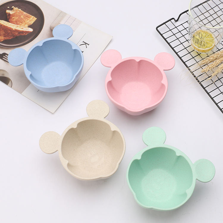 Eco friendly pp plastic food grade wheat straw Slip proof cartoon bowl