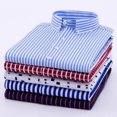 Wholesale Plus Size Men 's Shirts French Cufflinks Business Dress Shirts Stripe Linen Long Shirts For Men Chemise Homme
