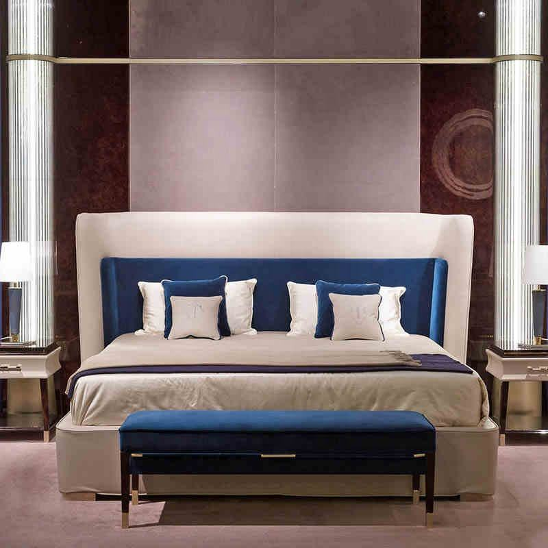 High end Customize design bedroom furniture simple solid wood double bed post modernity leather king size wedding bed
