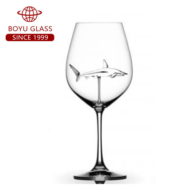 Custom New Design Shark Wine Glass Cup And 720ml 25oz Crystal Wine Glass