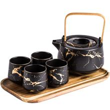 Japanese Vintage Tea Set Porcelain Teapot Teacups with Wooden Tray