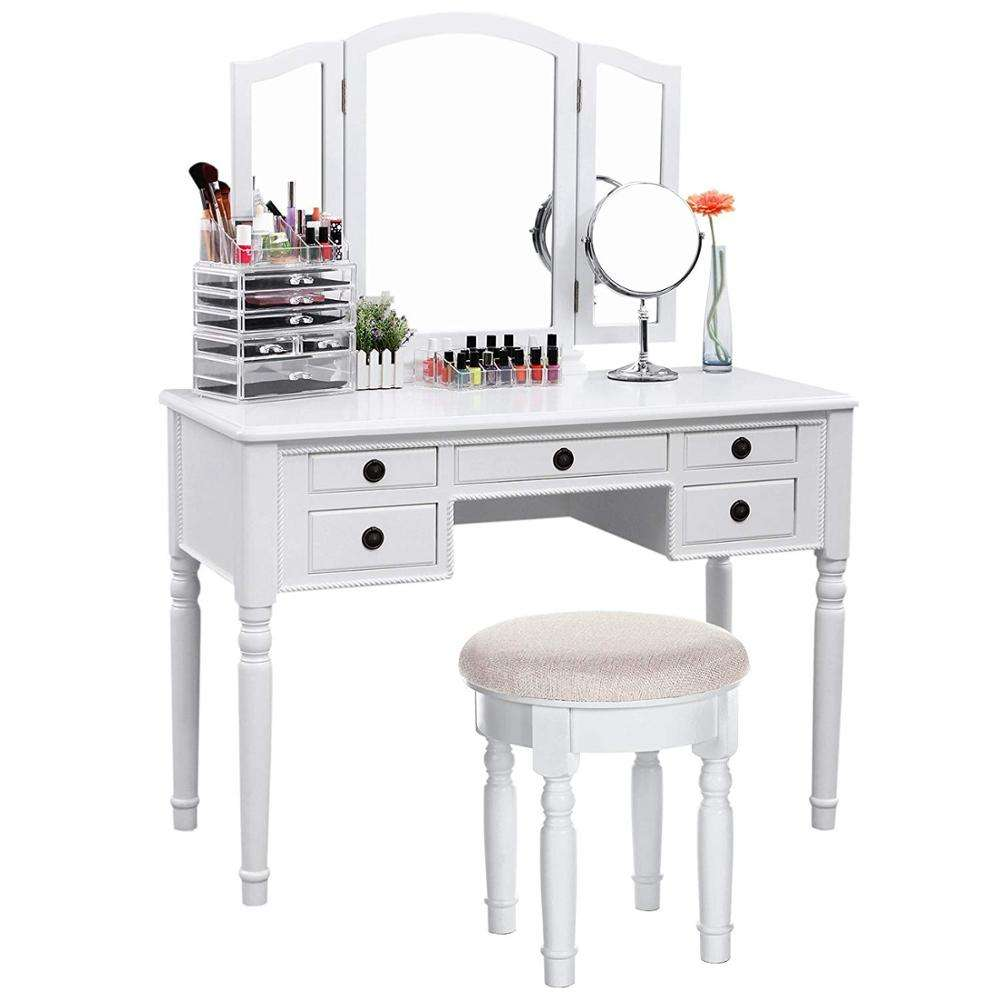 Bedroom Wood Furniture Vanity Dressing Table White Makeup Dresser With Mirror