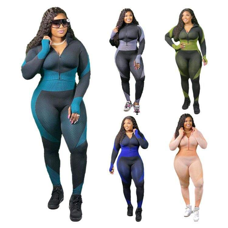 winter yoga set Women's Full Sleeve Patchwork Colour Tracksuit Gym Workout Two Piece Sets fitness Yoga Pants Plus XL XXL Size