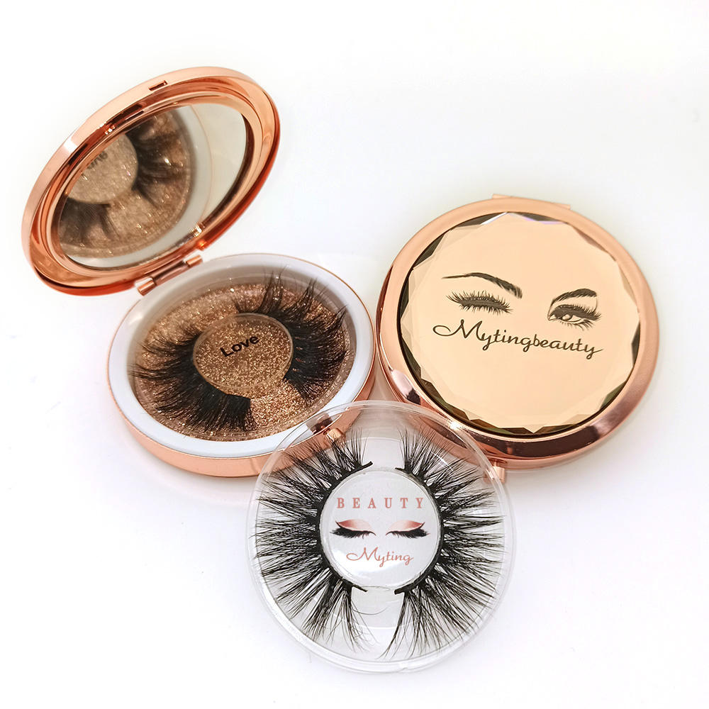 Makeup Box Private Label Circle Mink Round Luxury Empty Custom Logo Mirror Eyelash Case
