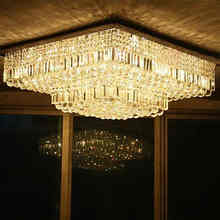 Modern hotel crystal gold square ceiling light