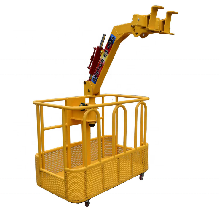 Exterior building crane truck car supporting work man baskets frame box platform