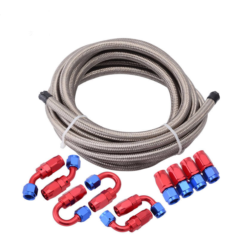 Auto Spare Part Stainless Steel Braided Fuel Knitted Oil Cooler Hose With Aluminum Fittings & Assembly