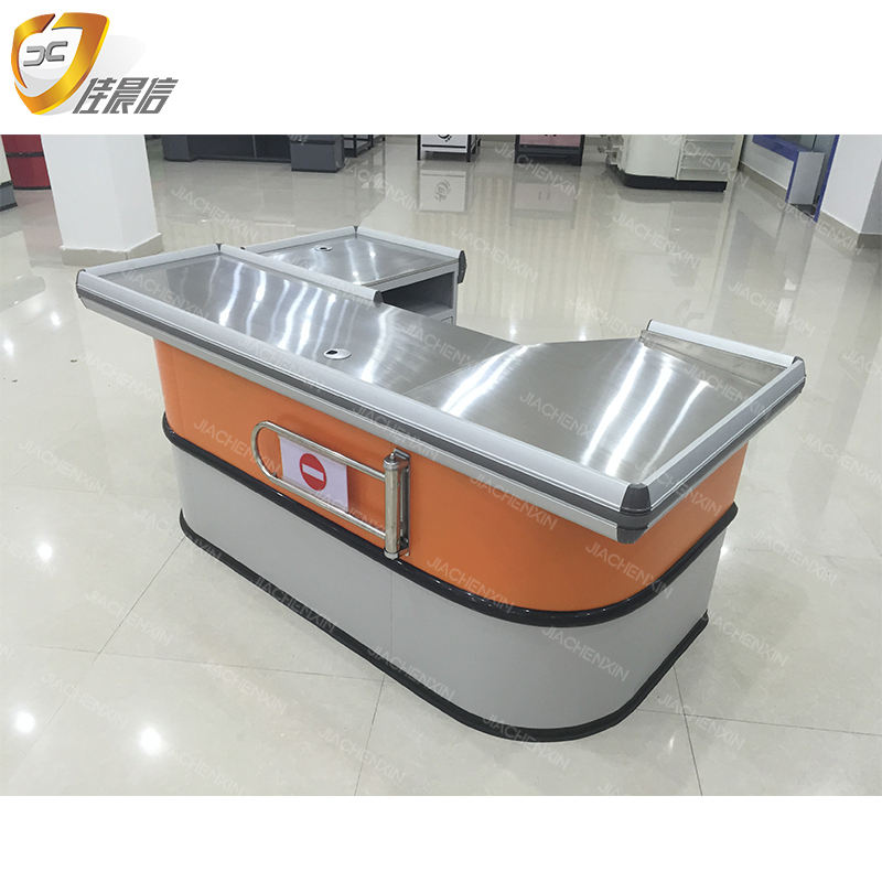 Top quality good price steel supermarket checkout cashier counter table