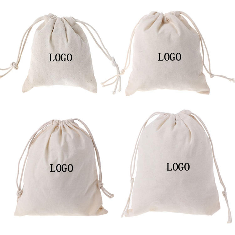 Custom logo printed eco friendly recyclable ecological reusable pouch cotton drawstring bag
