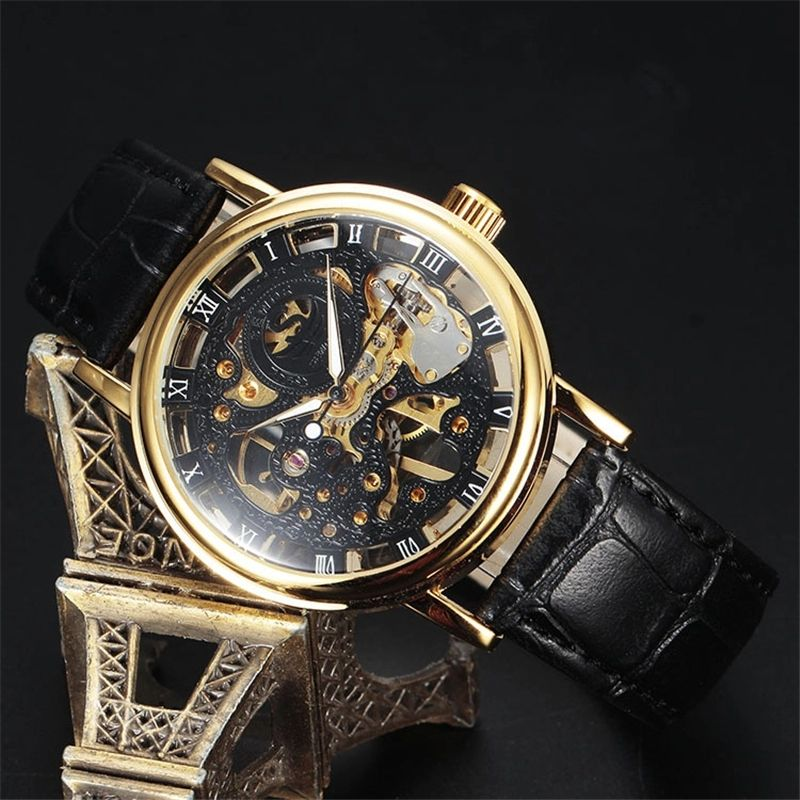 Sewor 605-1 Men Skeleton Automatic Mechanism Mechanical Watches Leather Strap Best Men Wrist Watch