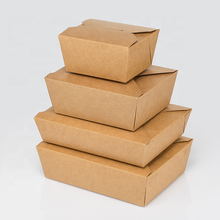 Eco Friendly Disposable and Recyclable Kraft Paper Box Microwavable Boxes Paper Food Take Out Containers