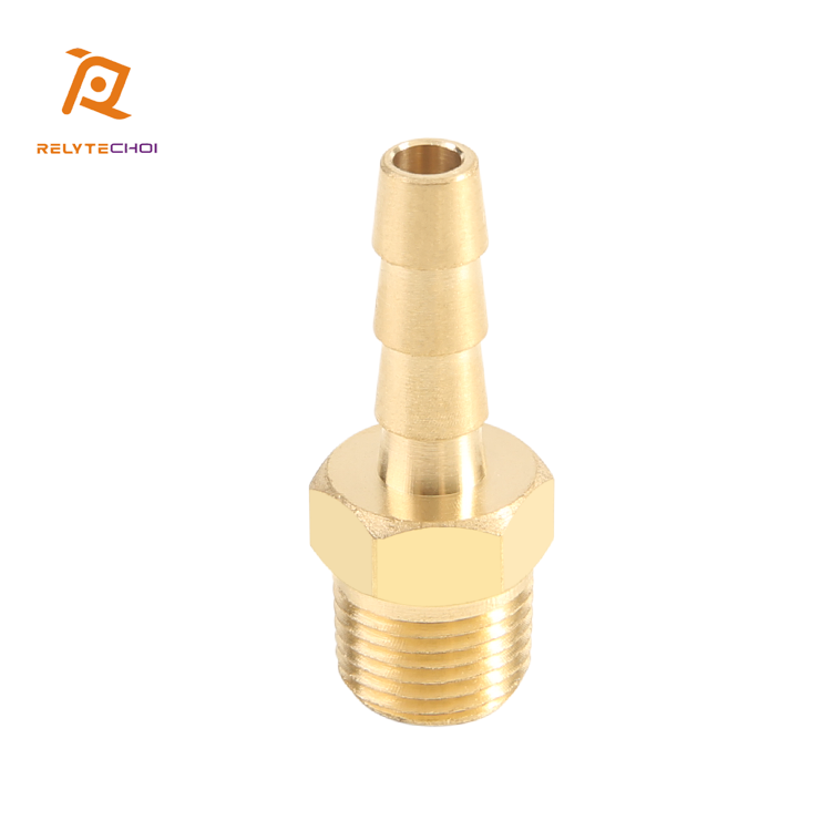 "Factory Price CNC Machining Round 1/8"" NPT Brass Male Hose Barb Fitting for Male Pipe"