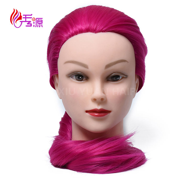 100% synthetic hair training mannequin head with color hair for salon training wig