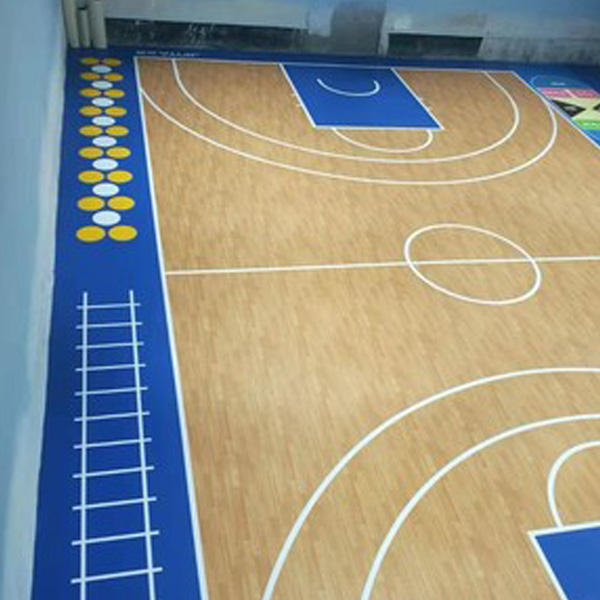 JIANER wood pattern sports flooring basketball court wood flooring super quality outdoor removable rubber mat sports floor