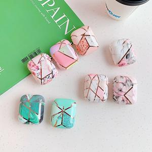 Glossy Shiny IMD Geometric Marble Earphone Storage Case Cover for Airpods 1 2 , for Airpods 2 Soft Case