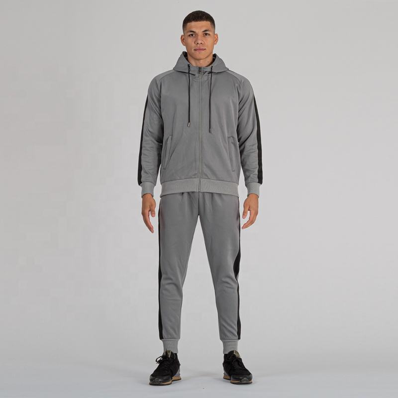 2020 New Design Custom Plain Mens Tracksuit Knitted Grey Fabric Mens Tracksuits