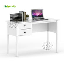 white modern writing table with 2 drawer mdf wooden home bedroom furniture computer study desk