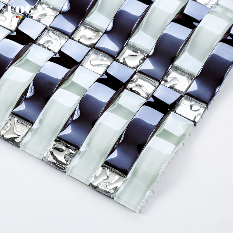 curve black and white glass 3d mosaic bar tile for restaurant