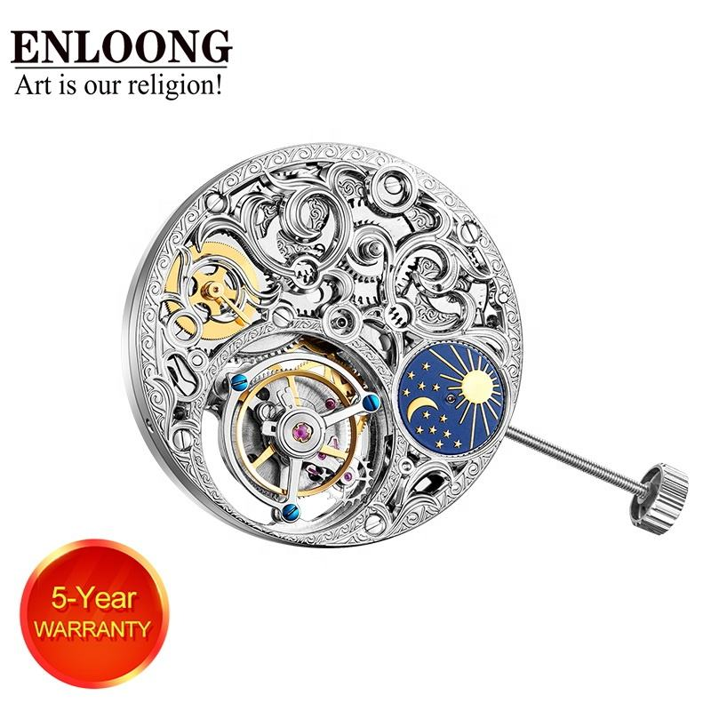 2019 ENLOONG Real Luxury Skeleton Tourbillon Movement With Manual Winding OEM LOGO Engraved Tourbillon Watch Movement