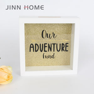 Customized wooden glass bank money cash coin storage box frame 3D Shadow Box