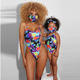 2020 Mother And Baby Girl Swimsuit Two Piece Swimsuits Matching SummerParent-Child Swimsuit with face