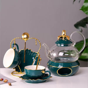 european style Wholesale 13pcs Ceramic Drinkware Afternoon Tea Set porceclain Coffee Cup Teapot Sets with rack