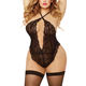 Comfortable Open Breast Big Size Backless Black Teddy Lace Lingerie Sexy Plus Size Lingerie Set