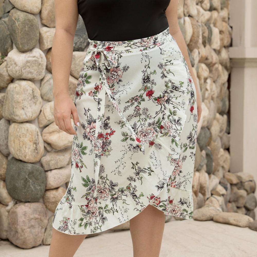 Plus Size Summer Outfits Asymmetric Ruffles Hem Plus Size Woman Clothing Floral Midi Skirt
