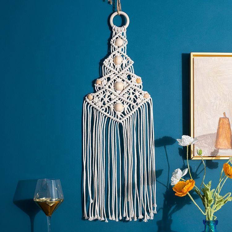 Boho style wall tapestry handmade cotton rope macrame wall hanging home decoration