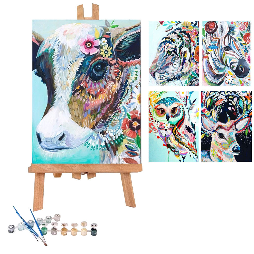 Framed Colorful Animal Custom Handmade Adults Kits Diy Oil Number Painting On Canvas Paint By Numbers With Frame