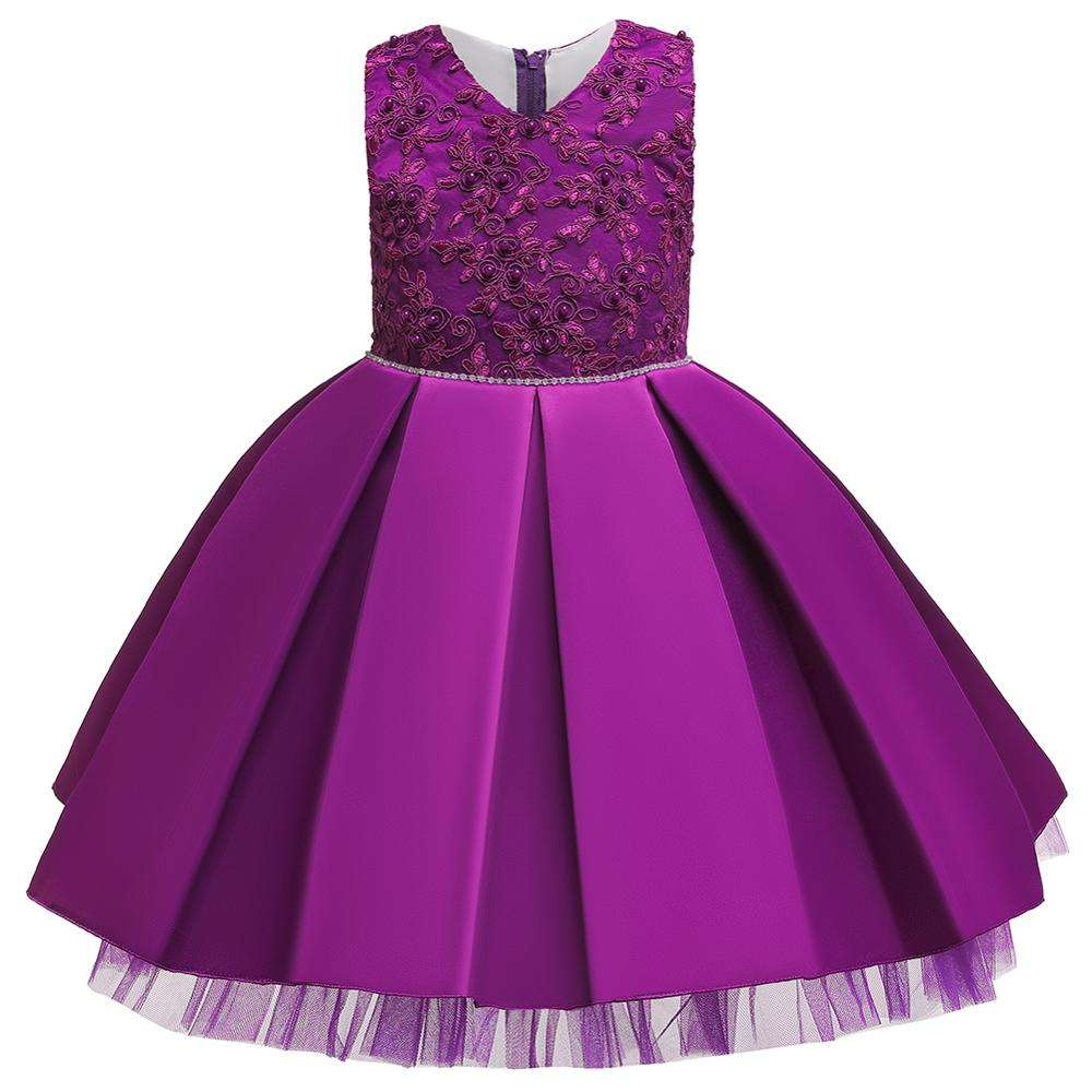 Purple New girl dress skirt European and American high-end princess skirt birthday solid-colored pomskirt baby evening dress