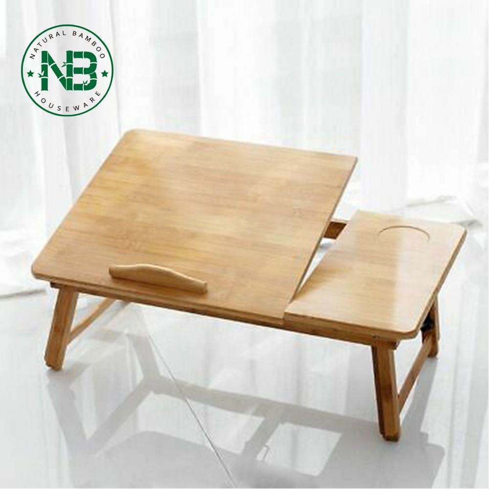 Wooden portable laptop table bamboo computer desk on bed
