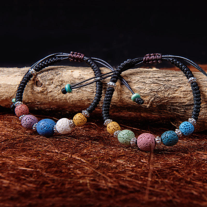 ZYX004 Trade assurane volcanic rock woven bracelet handmade rope knottes natural beads couple bracelet female sweet accessories