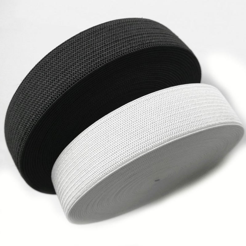"1/2"" inch black and white woven elastic tapes strap"