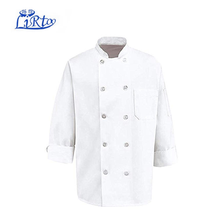 Chef Kleding Parel Knoppen Chef <span class=keywords><strong>Jas</strong></span>-Easy-Care Twill Chef <span class=keywords><strong>Jas</strong></span> voor mannen