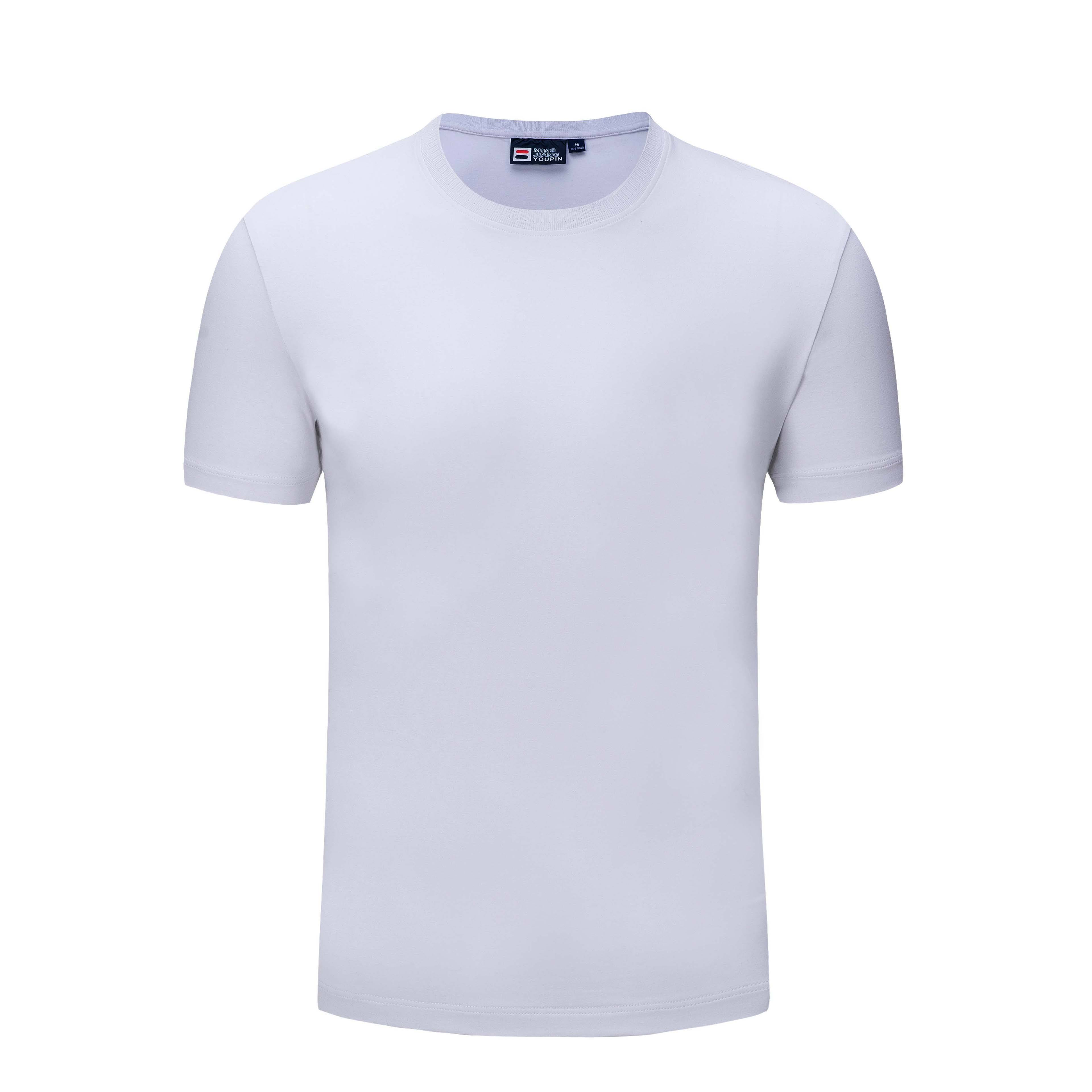 Drop shipping cotton spandex plain t shirt short sleeve T Shirts with round Collar