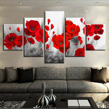 Living Room 5 Pieces Romantic Poppies Red Flowers Modular canvas art picture wall print Simple Flower Paintings