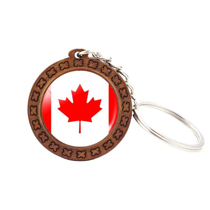 Leather Keyring Engraved Quebec City City Canada Flag
