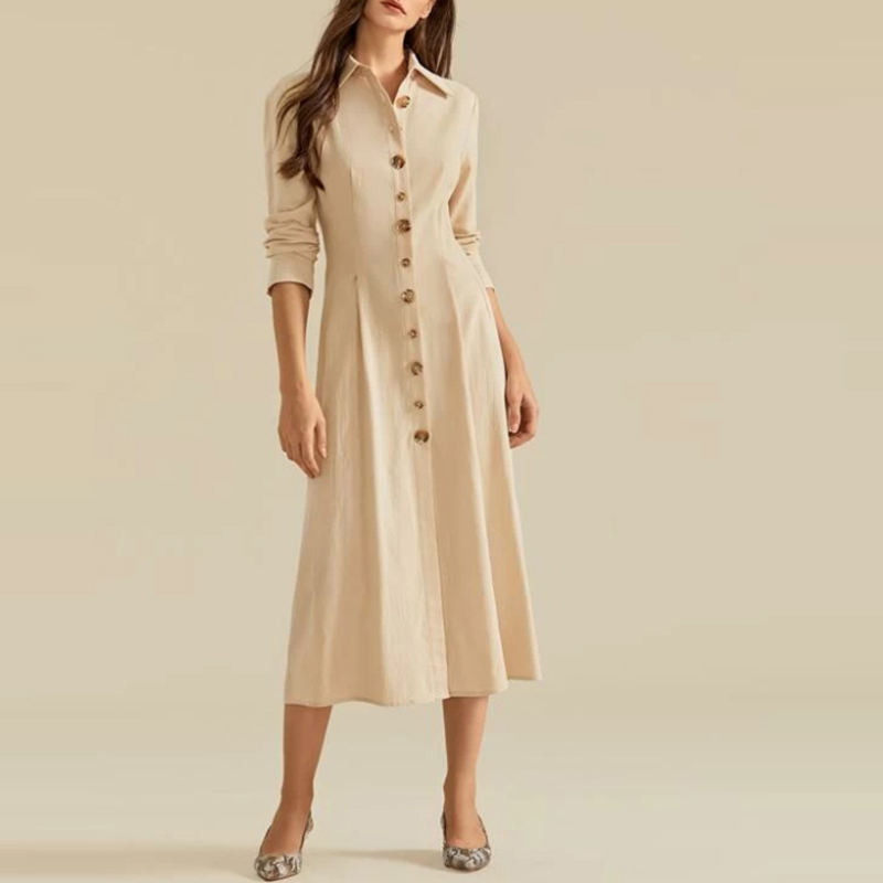 Fall Solid Color Button Front Korean Office Shirt Dresses For Women