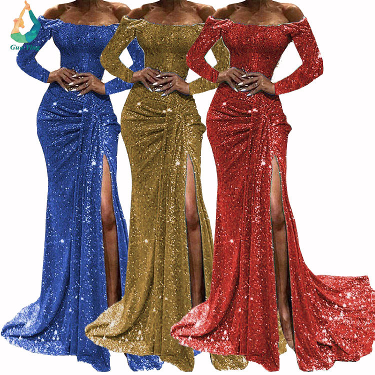 Europe Style Lover Beauty Lady Evening Dresses Sequin Women's Floor Length Long Sleeve Dresses