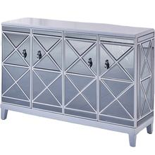 Storage drawer 4 doors living room luxury gloss silver wood mirrored sideboard furniture cabinet