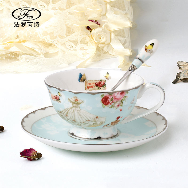 Coffee and tea set Glass tea pot , bone china tea cup and saucer with stainless steel spoon